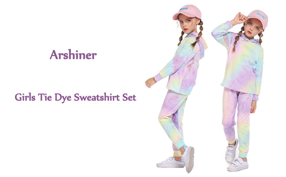 Girls Tracksuit 2pc Tie Dye Sweatshirts Set Hooded Pullover Hoodies Tops Pants Sweatpants Kids Sweatsuits