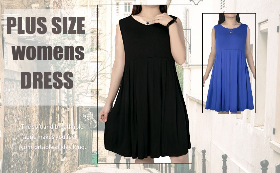 Women's Plus Size Sleeveless T Shirt Dress Summer Casual Pleated Swing Dresses with Pockets