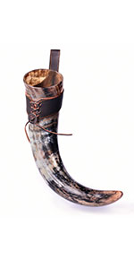 """20"""" Natural Viking Drinking Horn w/ Leather Holster   """"The Journeyman"""""""