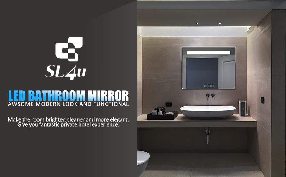 SL4U LED Lighted Bathroom Wall Mounted Mirror Anti Fog Dimmable