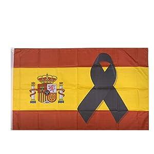 Pack 5 Parches Termoadhesivo Lazo Negro Bandera de España 7x5cm: Amazon.es: Hogar