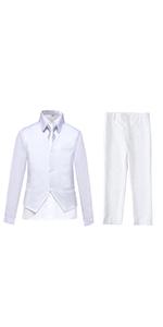 Suits for Kids Size 7 Suit Boys White Tuxedo Suit 4 Pieces Vest Set Slim Fit Dress Clothes