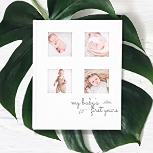 Photo Album Frame Modern Minimalist Hardcover 66 Pages First Year Milestone Newborn Journal for Boys Adoptive LGBT Girls Single Mom Dad All Family Baby First 5 Years Memory Book Journal