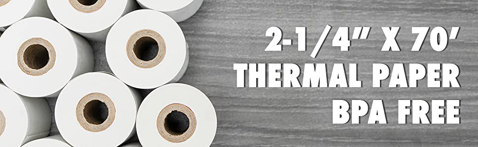 2-1/4quot; x 70' Feet Thermal Paper Rolls
