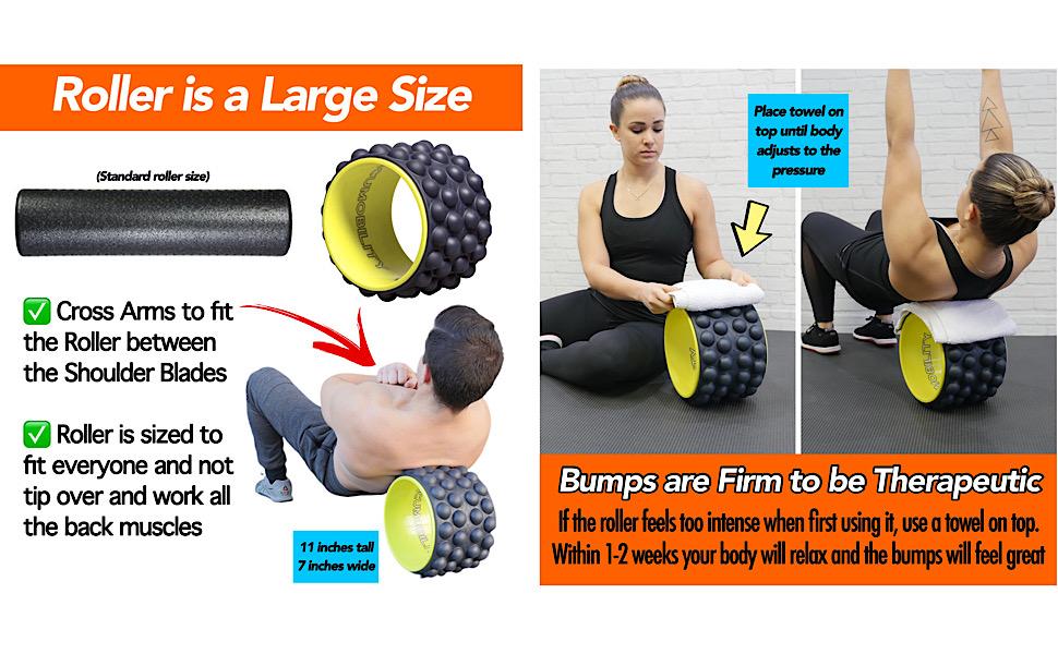 acumobility, accumobility, back roller, yoga wheel, pilates wheel, back pain, back wheel