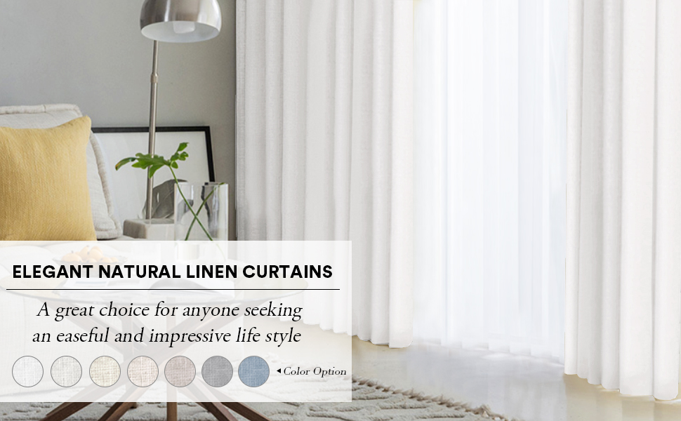 PrinceDeco Natural Linen Curtains for Bedroom