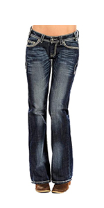 Rock and Roll Cowgirl Riding Boot Cut Dark Vintage Jeans