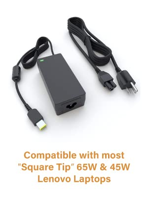 PowerSource 65W 45W 20V UL Listed 14Ft Long Slim-Tip AC-Adapter-Charger for Lenovo-ThinkPad Including Yoga, X1 Carbon, T470 T470S T460 T450 T440 ...