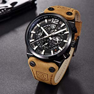 brown leather watch men