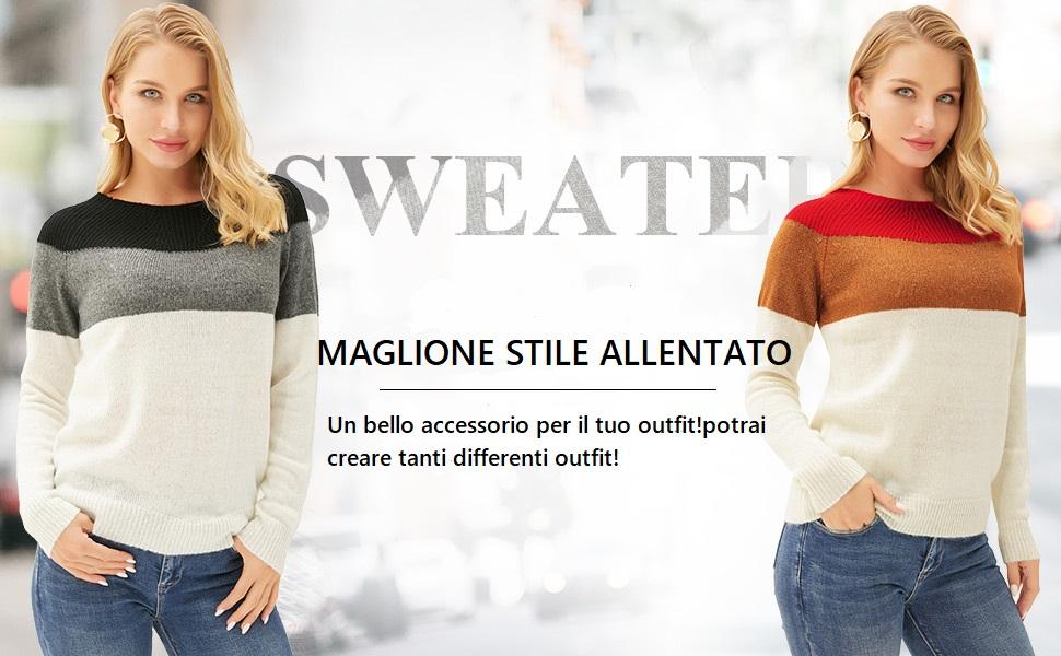 GRACE KARIN Maglione Donna Pullover Invernale Girocollo a Maniche Lunghe Casual Materiale Squisito