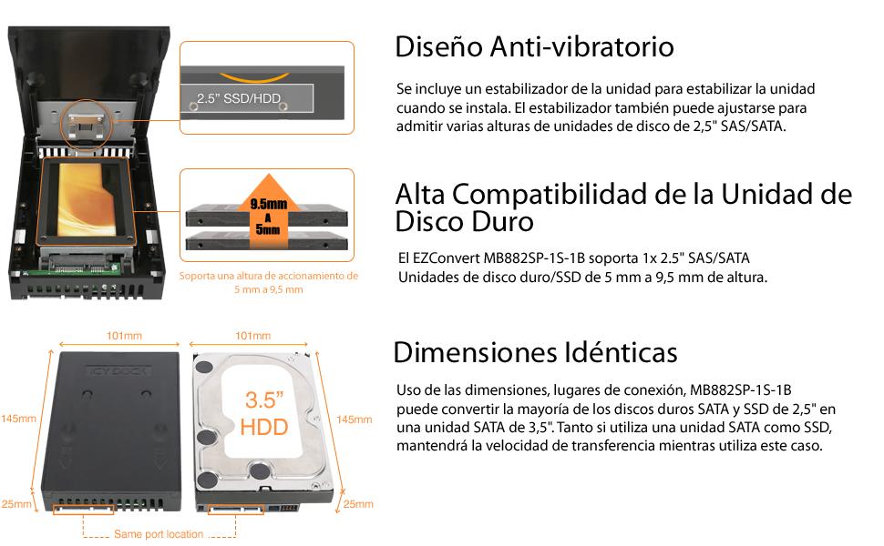 Icy Dock EZConvert MB882SP-1S-1B - Convertidor por SSD/HDD SATA ...