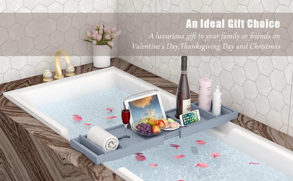 gray bath tray