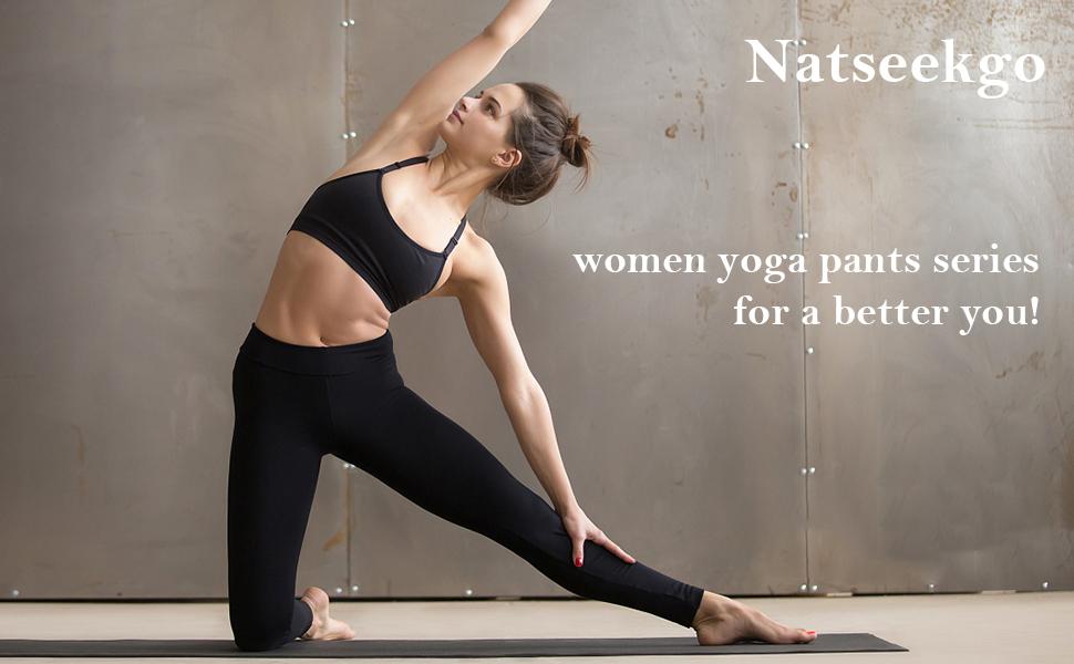 Natseekgo Womens Leggings High Waist Yoga Pants A+