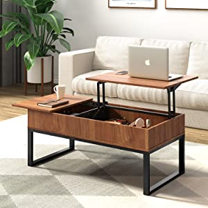 Amazon Com Wlive Wood Lift Top Coffee Table With Hidden Storage Compartment Side Drawer And Metal Frame Lift Tabletop Dining Table For Home Living Room Office Furniture Decor
