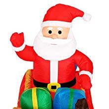 Monzana Papá Noel con trineo renos hinchable inflable 240cm decoración de Navidad iluminación luces de exterior interior