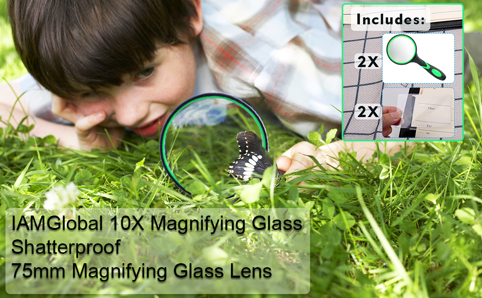 Magnifying Glass for Reading Handheld,10X Kids Magnifier Glass with 75mm Non-Scratch/Shatterproof/Magnifying Lens Magnifiers for Seniors Toddlers Close Work Book Newspaper Insects Science Observation/