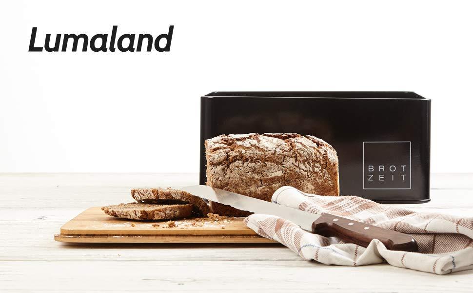 Lumaland Bread Bin black for bread with cutting board lid in bamboo
