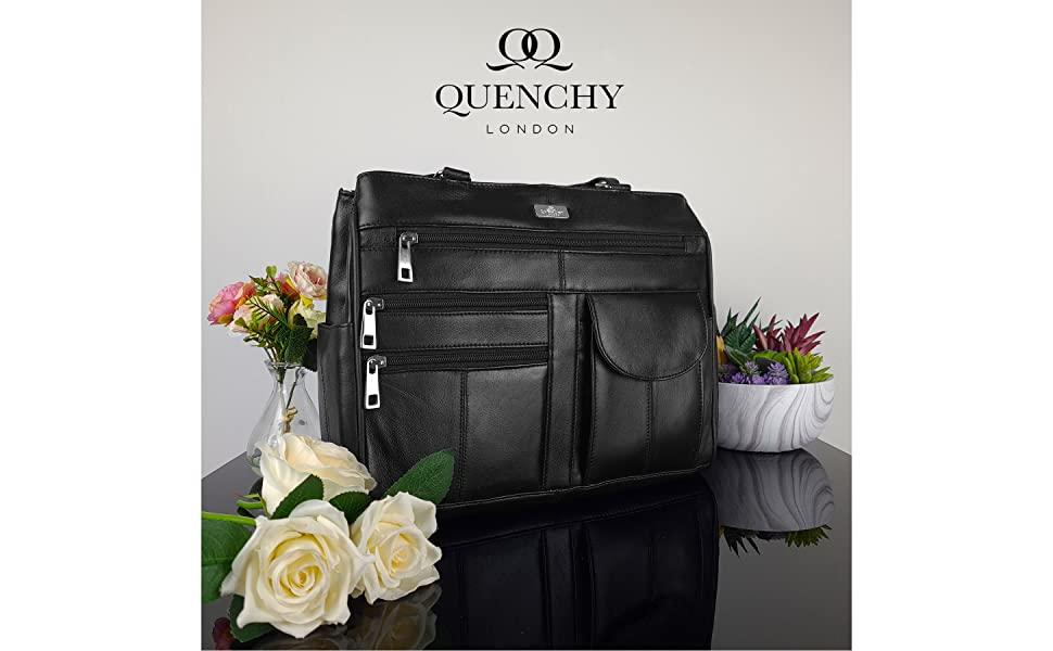 Quenchy London Ladies Black Leather Handbag Magazine Style Design Top Quality Bags Real Leather