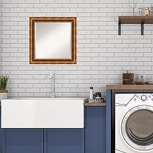 bronze wood bathroom laundry room mirror