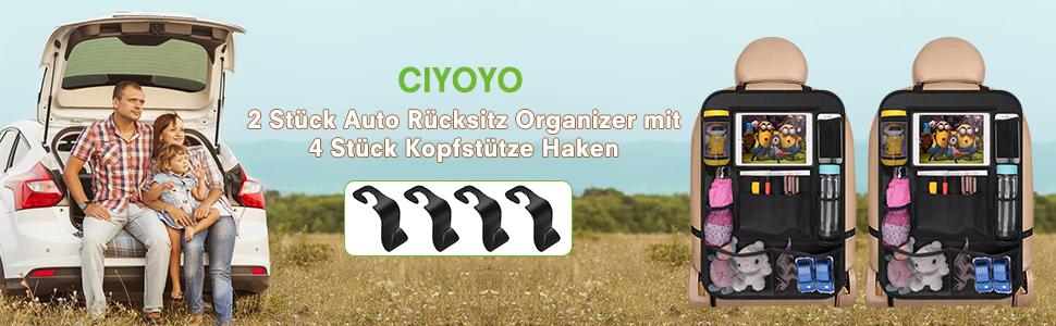 Wasserdicht Auto R/ücksitz Organizer f/ür Kinder mit 2er Durchsichtigem iPad//Tablet-Tasch und 8 Aufbewahrungstaschen R/ücksitzschoner Kick-Matten-Schutz f/ür Autositz 2 St/ück Auto R/ückenlehnenschutz