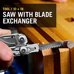 Saw, Blade Exchanger, Leatherman, Leatherman Surge, Multitool, Multipurpose Tool
