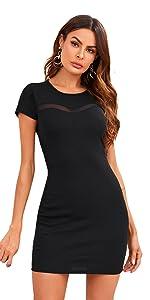 Elegant Short Sleeve Contrast Mesh Party Bodycon Mini Dress
