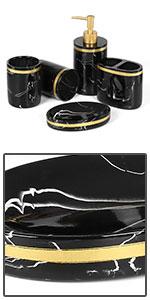 Black Gold Bath Accessories Set