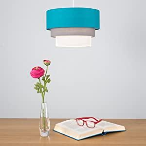 Turquoise lampenkap voor woonkamer