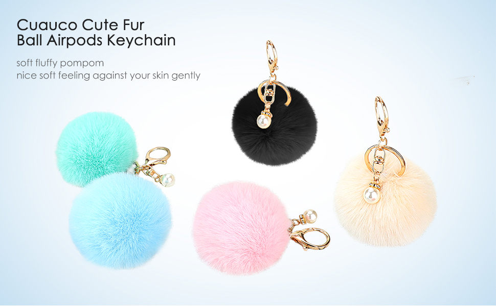 cuauco 2020 Newest AirPods Case Cover Fur Ball Keychain[Compatible with Apple AirPods 1&2;Front LED Not Visible]with 2 Strap2 Pairs EarHooks1