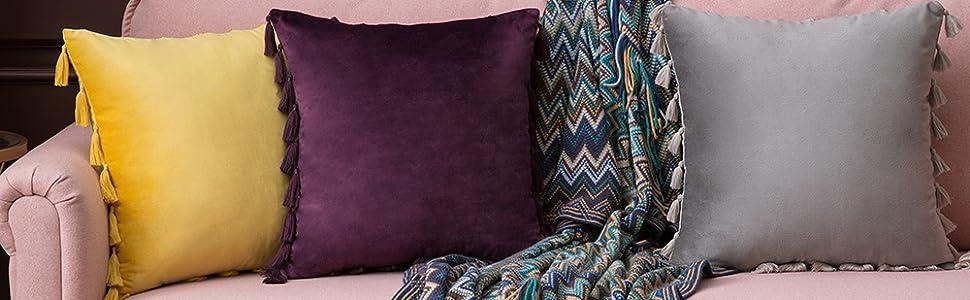 lemon yellow gold orange fall autume decoration purple throw pillows