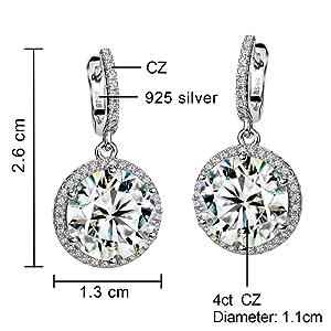 sterling silver 4ct diamond earrings for women