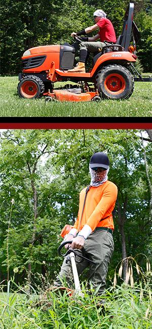 yardwork, tractor, landscaping, raking, weeding