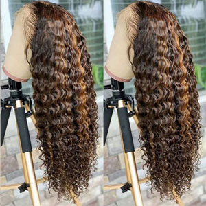 Highlight human hair lace front wig