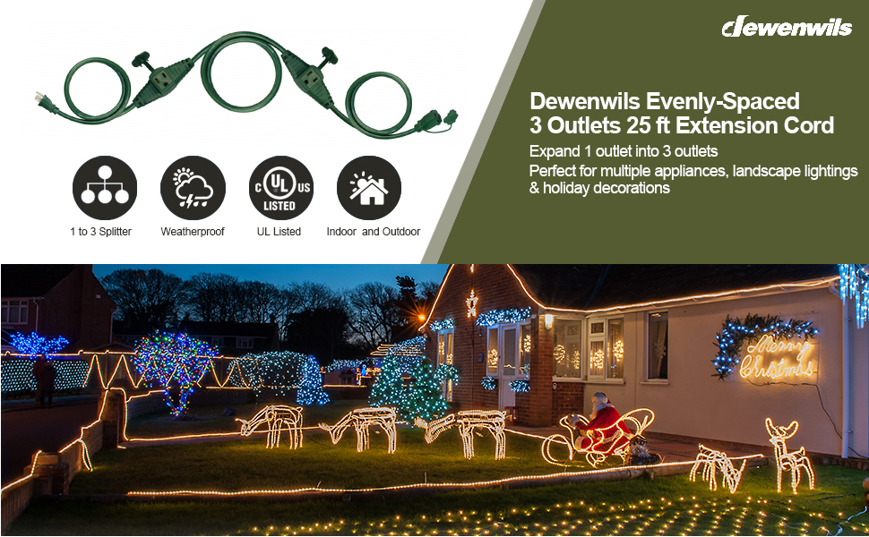 DEWENWILS Evenly Spaced 3 Outlets 25 Ft Green Outdoor Extension Cord Weatherproof Wire UL Listed