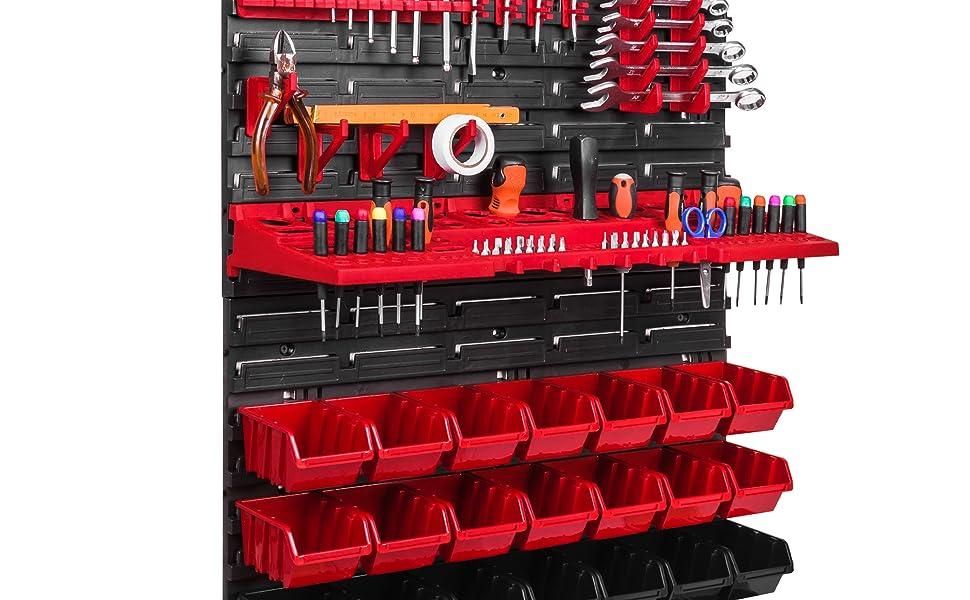 56 Stapelboxen Wandregal Werkzeugwand XXL 173 x 78 cm Werkzeughalter Werkstatt