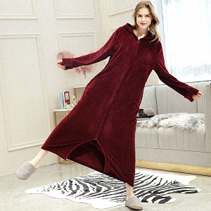 Womens Long Dressing Gown Nightwear Zip Up Hooded Bathrobe Ladies Fluffy Fleece Full Length Robe