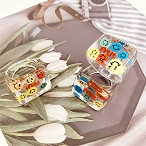 resin ring for women transparent  resin ring vintage acrylic ring resin ring with smile