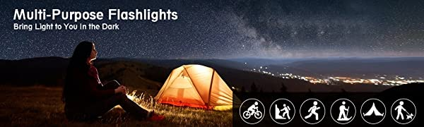 LETION LED Torch Super Bright 1500 Lumens 500 Meters Powerful Flashlight with Zoomable 5 Lighting Modes Waterproof Torches for Camping Hiking Fishing Outdoor