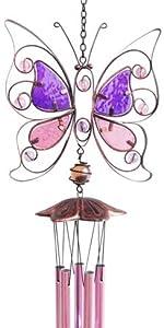 pink butterfly windchime