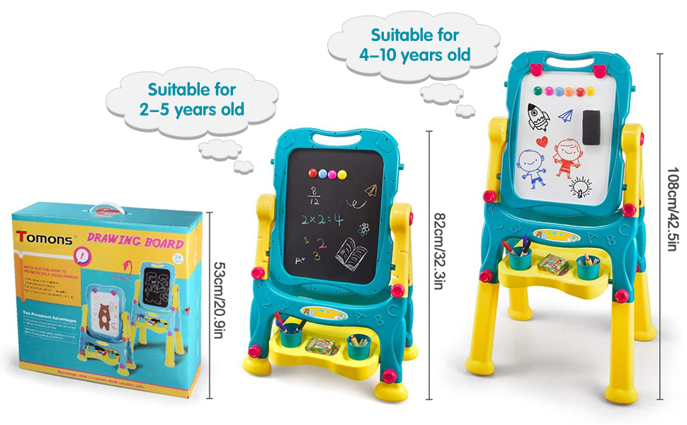 kids easel - Tomons Art Easel For Kids, Double-Sided Magnetic Dry Erase Board And Chalk Board Adjustable Standing Kids Easel For Toddlers Boys And Girls