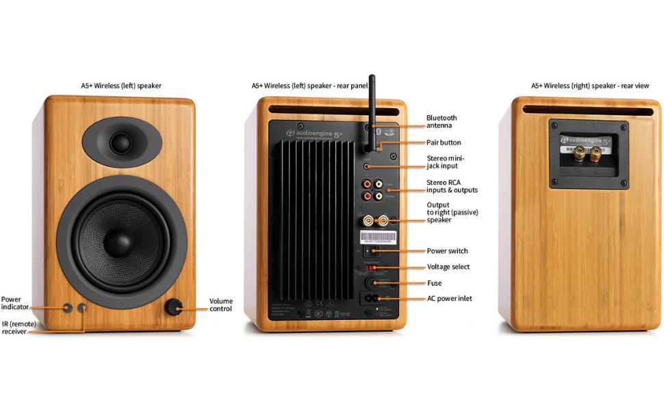 Pair Audioengine A5 Black Powered Desktop Speaker Bundle with DS2 Desktop Speaker Stands