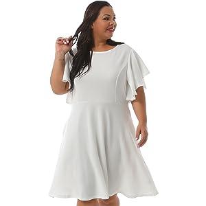 Nemidor Women's Vintage Plus Size Dress White