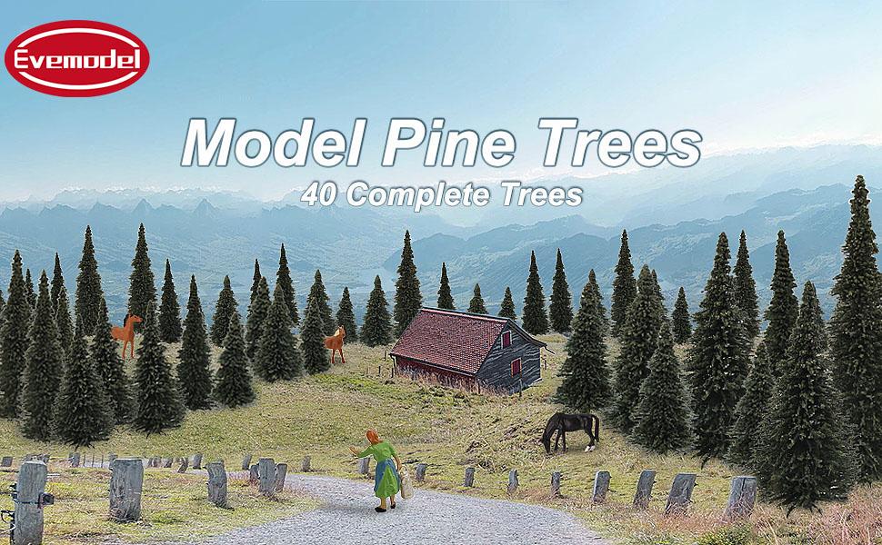 52-126 mm for Model Railroad Scenery Landscape Layout HO OO Scale New S0804 40pcs Dark Green Pine Model Cedar Trees 2.05-4.96 inch