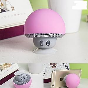 Mcnnadi Mimi Mini Mushroom Bluetooth Speakers Mushroom Speakers with Micophone Amplifier Suction