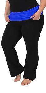 Amazon Com Stretch Is Comfort Women S Foldover Plus Size Yoga Pants Clothing