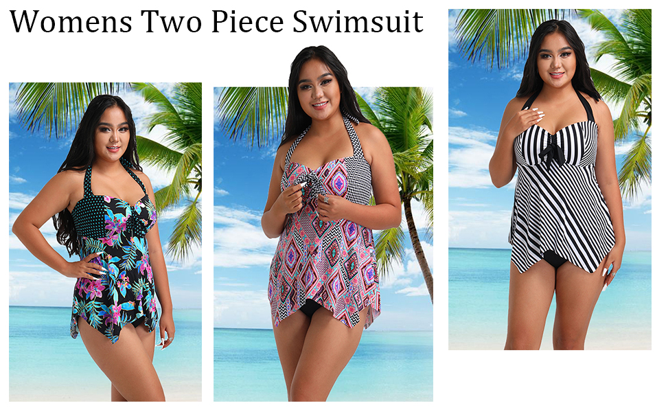 FULLFITALL Womens Swimsuits Plus Size Tankini Two Piece Bathing Suits Swimwear Patchwork Open Back Printed