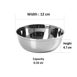 Sumeet Stainless Steel Heavy Gauge Bowl/Wati Set with Mirror Finish