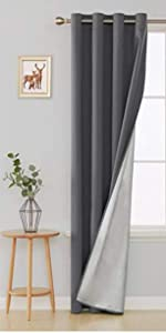Full Blackout Curtains 45 inch Long Faux Linen Grommet Top Curtains Noise Reducing Curtains
