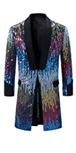Men's Tuxedo Single-Breasted Party Show Suit Sequins Punk Jacket Blazer