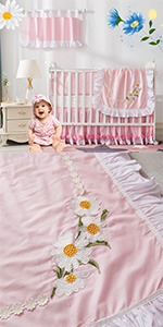 daisy crib bedding set pink